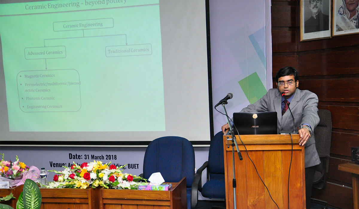 Assistant Prof. Redwan N. Sajjad gives a presentation on the research activities of the Department of GCE.